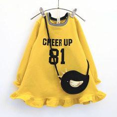 Letter Print Girls Dress + Bag For 2Y-9Y-US$34.99