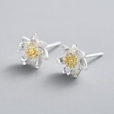 925 Silver Lotus Flower Earrings -US$12.86