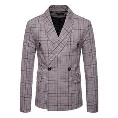 Plaid Printed Business Blazer Suits-US$42.88