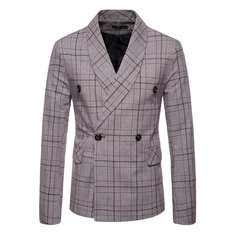 Plaid Printed Business Blazer Suits-US$42.88