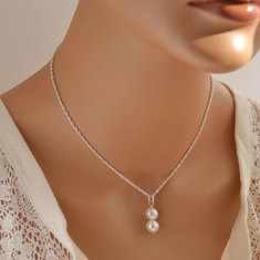 Fashion Pendant Silver Gold Necklace Imitation Pearls-RM29.99