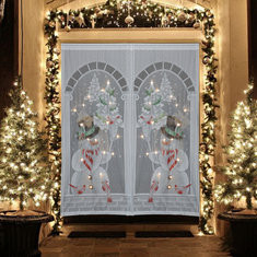 """40""""x84"""" Christmas Snowman White Lace Window Curtain""-RM19.90"