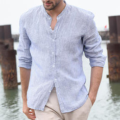 Casual Breathable Solid Color Shirt -US$19.44