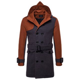 RM314.02-Mid-Length Patchwork Woolen Hooded Trench Co