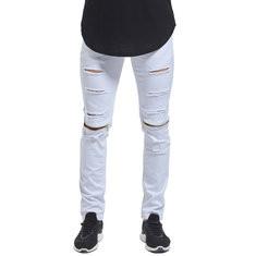 Skinny Hip Hop Ripped Knee Zipper Jeans-US$23.72
