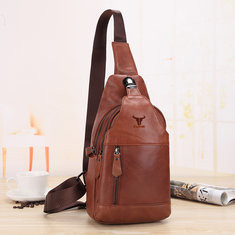 Men Genuine Leather Chest Bag Cowhide Sling Bag-US$43.99