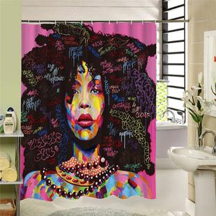 African Girls Shower Curtain Waterpr-US$23.99