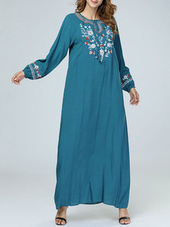 Embroidery Floral Maxi Dress -US$48.00