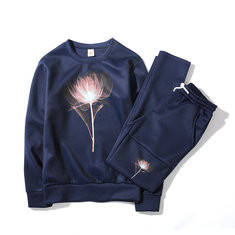 Mens Floral Cotton Pullover Sweaters Suit