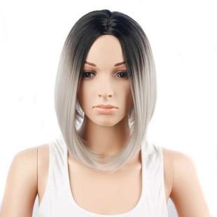Black Gray Ombre Wigs Short Bob Straight Hai-US$31.32
