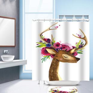 Cartoon Reindeer Deer Waterproof Shower Cu-US$21.56