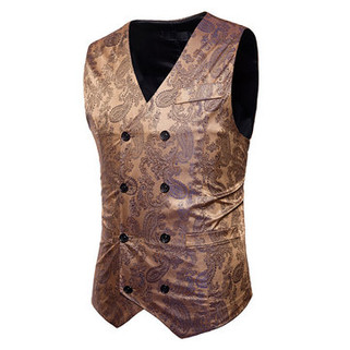 Printing Double-breasted Formal Suit Vest-US$24.88