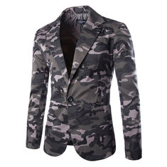 Mens Camouflage Single Breasted Slim Long Sleeve Suit US$41.30