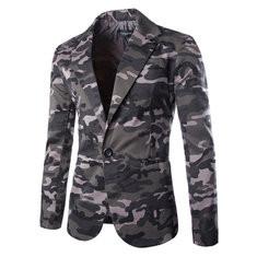 Mens Camouflage Single Breasted Slim Long Sleeve Suit US$41.30