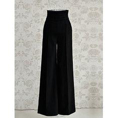 Black High Waist Wide Leg Flare Pants-RM103.11
