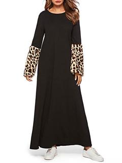 Leopard Patchwork Long Sleeve Islam Dress -US$46.80