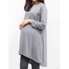 Solid Color Maternity Nursing Tops-US$23.99