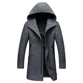 RM402.05-Mens Wool Zip Hooded Trench Coat