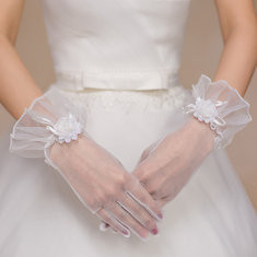 Beautiful Bride Full Fingers Lace Gloves Decorative Flowers Wedding Dress Accessories-RM20.75