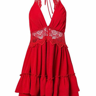 Hollow-back Stitching Pleated Lace Dresses -US$42.55