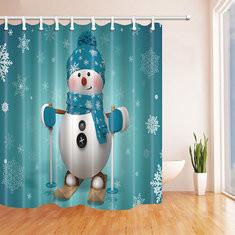 180x180cm Skiing Snowman Shower Curtain-US$22.25