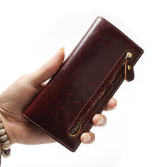 Men RFID Anti-magnetic Genuine Leather Long Wallet