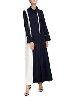 Contrast Long Sleeved Turtleneck Maxi Dress -US$46.609