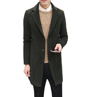 RM126.41-Mens Solid Color Long Trench Coat