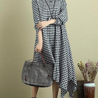 Casual Plaid Print Irregular Long Sleeve Lapel Women Dresses -US$39.99