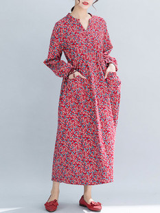 Print Literary V Neck Long Sleeve Dress -US$38.99