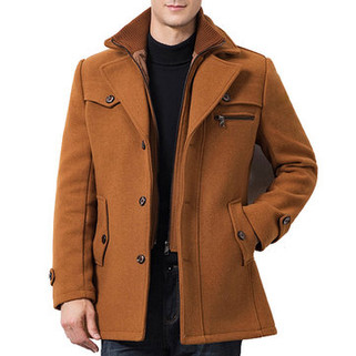 RM267.27 - Mens Winter Woolen Fake Two Pieces Coat