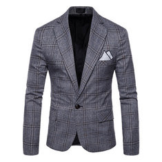 Business Casual Plaid Buttons Suit-US$50.34