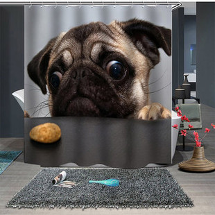 Lovely Dog Polyester Fabric Shower Curtain -US$21.80