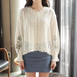 Hollow Embroidery Lantern Sleeve Pullovers C-RM128.37