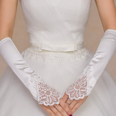 Bridal White Long Lace Gloves Marriage Fingerless Beads Wedding Gloves-RM16.09