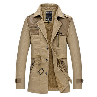 RM177.71-Winter Warm Business Casual Patchwork Trench C
