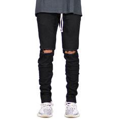 Skinny Ripped Drawstring Jeans-US$23.72