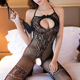 Halter Bowknot Open Crotch Bodystocking -RM37.16