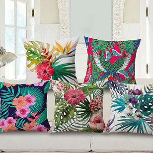 Decorative Throw Pillow Case Fashion Cotton Linen Tropical Plant Flowers Grass Cushion Cover -RM19.35