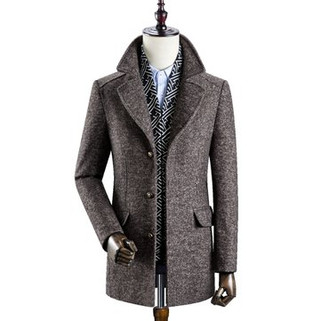 RM543.55-Mens Woolen Thickened Warm Business Casual