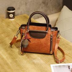 Women Vintage PU Leather Handbag Retro Solid Crossbody Bag-RM138.15