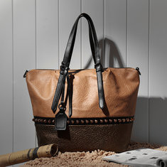 Brenice Stitching Color Faux Leather Tote Handbag-RM156.08