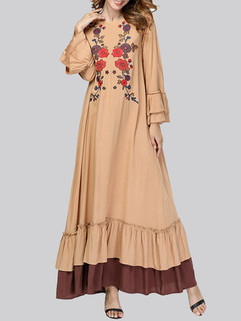 Muslim Embroidery Bell Sleeve Long Dress -US$37.99