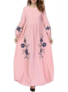Embroidery Long Sleeve Pink Islam Muslim Dr-US$46.80