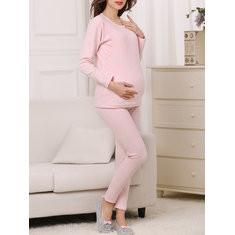 Soft Cotton Maternity Pajama Set-US$35.00