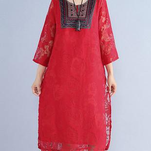 Folk Style Lace Dresses -US$28.00