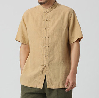 Two-Sided Men Casual Pure Color Classic O-Neck Chinese Buttons Up Comfortable Mens Cotton Shirt -US$21.99
