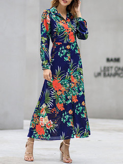 Slim Floral Print Long Sleeve Dress -US$33.99