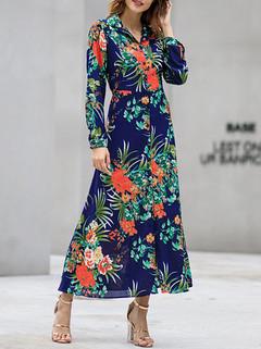 Slim Floral Print Long Sleeve Dress -US$33.99