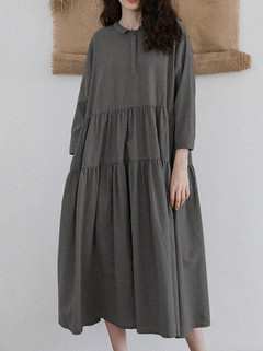 Casual Long Sleeve Solid Color Dress -US$24.89